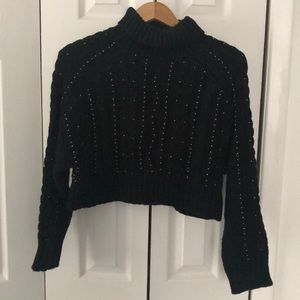 Cropped sweater with bead detail